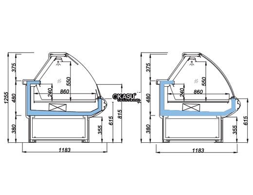 Tủ trưng bày mặt cong cố định OPO E0M1-12CF - ảnh 1