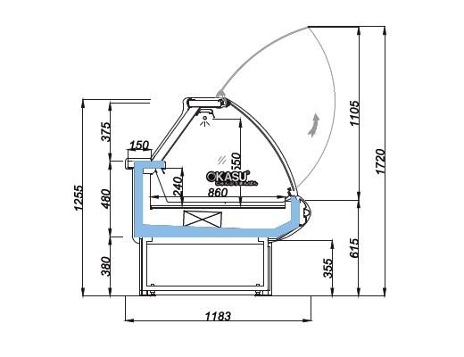 Tủ trưng bày cửa nâng mặt cong OPO E0M1-08CL - ảnh 1